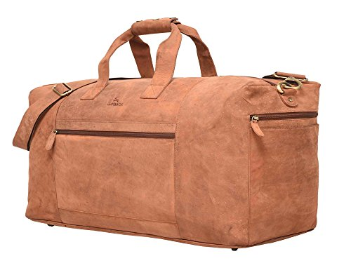 Leaderachi - 100% Pure Genuine Real Vintage Hunter Leather Handmade Unisex large travel bag [