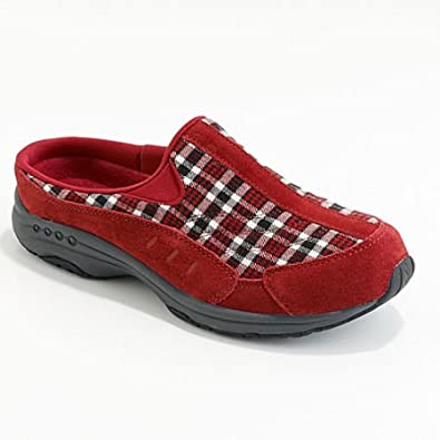 "Women's Easy Spirit Mules ""Traveltime"" - Red Multi Plaid (6, Red Multi Plaid)"