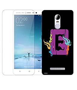 Indiashopers Combo of E Alphabet Square HD UV Printed Mobile Back Cover Case and Tempered Glass For Xiaomi Redmi Note 3