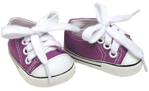 Dolls Sneakers fit for American Girls and more 18 Inch Dolls, Shoes in Purple Canvas