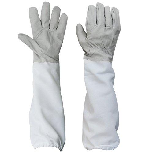 SODIAL (R) Paio di guanti protettivi apicoltura, apicoltura maniche lunghe con ventilato (grigio e bianco)