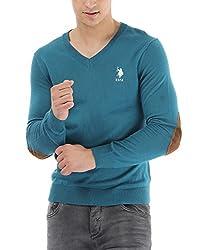 US POLO ASSOCIATION Men's Poly Cotton Sweater (USSW0405_Blue_Medium)
