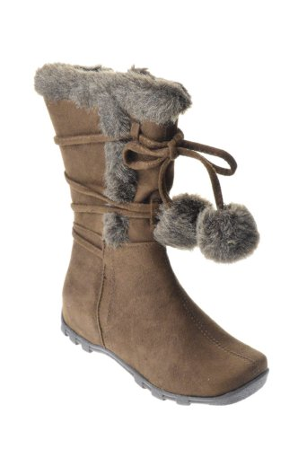 Love 10K Little Girls Slouch Mid Calf Boots Brown 4