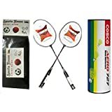 Cosco CB 150E Badminton Racquet (Pack Of 2) And Aero 727 Yellow Nylon Shuttle Cock (Pack Of 6) WITH FREE SPORTSHOUSE...
