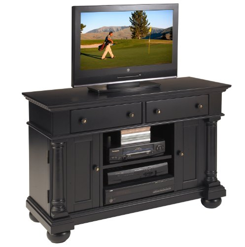 buy low price home styles st croix tv credenza stand black 5901 10. Black Bedroom Furniture Sets. Home Design Ideas