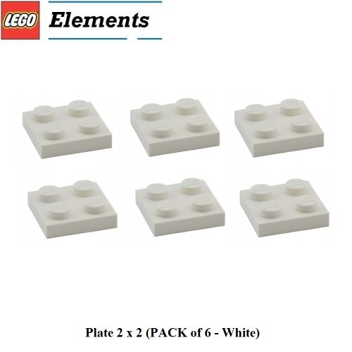 Lego Parts: Plate 2 x 2 (PACK of 6 - White) (Lego Building Plate White compare prices)