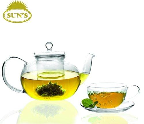 Sun's Tea (TM) 32oz Ultra Clear Heat Resistant Borosilicate Glass Teapot & Infuser for loose tea or display tea (Teapot 32 Oz compare prices)
