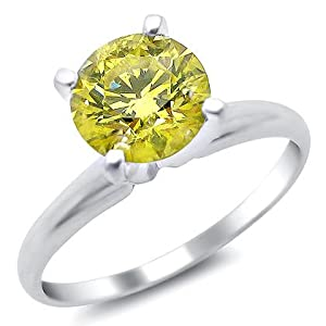 1.03ct Canary Yellow Round Solitaire Diamond Engagement Ring 14k White Gold
