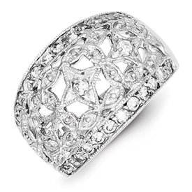 Genuine IceCarats Designer Jewelry Gift Sterling Silver Polished Cz Ring Size 6.00