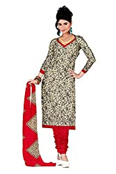 Araham Printed Beige & Maroon Synthetic Polyester Unstitched Salwar Suit Dress Material
