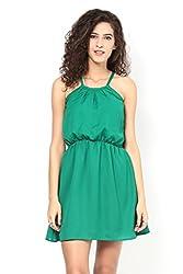Green Halter Neck Blouson Dress