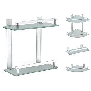 badablage eckregal duschregal wandregal badregal glasregal wand glaskonsole bad glas regal. Black Bedroom Furniture Sets. Home Design Ideas