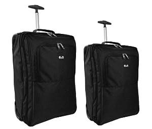 Set of 2 Super Lightweight Cabin Approved Wheeled Bags (Black)