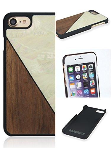 """WOLA custodia """"AQUA"""" per iPhone 7 in vero legno di noce naturale e madreperla bianco. Elegante cover di protezione per Apple i-Phone 7 in legno e madreperla."""