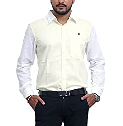 PP Shirts Men Pure Linen Casual Shirt ( Lemon Yellow XXXXXL )