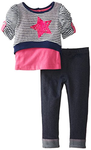Little Lass Baby-Girls Infant 2 Piece Legging Set Star Stripe Knit, Navy, 18 Months