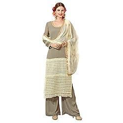 Admyrin Women Grey Georgette Dress Material
