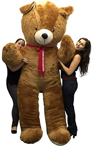 Personalized-Giant-Teddy-Bear-96-Inches-Soft-Big-Plush-8-Foot-Teddybear-Your-Message-Imprinted-on-Removable-Red-Satin-Neck-Ribbon-Bow