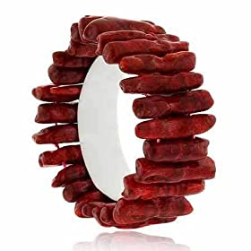 Red Genuine Sea Bamboo Coral Chunky Bracelet, available at Amazon.com
