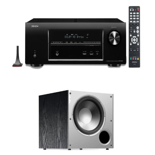 Denon Avr-E400 7.1 Channel 4K And 3D Pass Through Networking Home Theater Receiver Plus A Polk Audio Psw108 10-Inch Powered Subwoofer