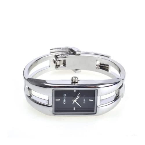 Silver Quartz Women Bangle Bracelet Wrist Watch   A Stunning Open Bangle Style Wrist Watch For Ladies