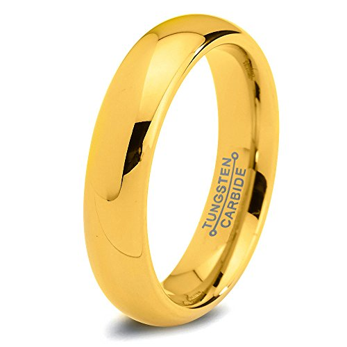 Tungsten Wedding Band Ring - 5mm - Wedding Band for Men Women - ALL Sizes - 18k  Yellow Gold Plated Designer Rings Comfort Fit - Domed Polished - Male Mans  ...