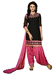 Black Embroidered Border Patiala Suit