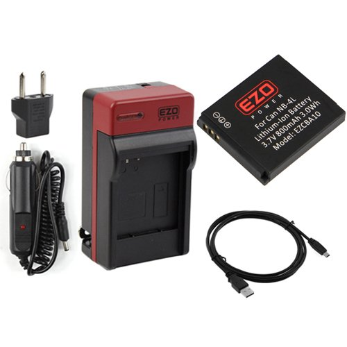 EZOPower Digital Camera Replacement Battery + Travel Charger with Car Adapter + Mini-USB Data Cable for Canon NB-4L, PowerShot ELPH 310 HS, 300 HS, 100 HS, SD1400 IS, SD940 IS, SD630, SD600, SD450, SD430, SD400, SD300, SD200