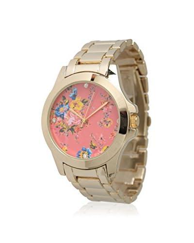 Olivia Pratt Women's 13531 Boyfriend Gold/Coral Floral Multi Print Alloy Watch
