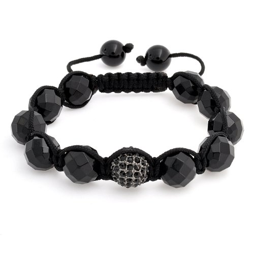 Bling Jewelry Black Crystal Ball Shamballa Inspired Bracelet Faceted Bead Unisex 12mm