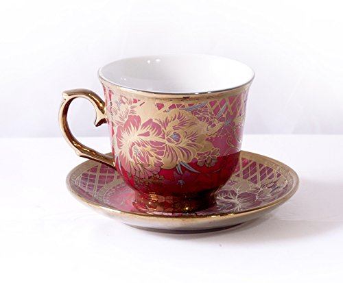 Ambilight Porcelain 6-ounce Coffee Cup and Saucer Red Chintz with Gold Trim,Red,B1,outstanding decorative cups