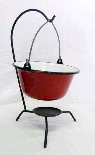6 Stück Gulaschkessel Servierkessel 0,8 Liter mit Ständer rot emailliert günstig bestellen