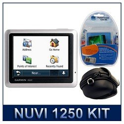 Garmin nuvi 1250 3.5 Inch North America City Ultra-Thin Auto GPS Navigation Unit, Digital Screen Care Kit (Includes; Screen Overlays, Clean Cloth, Wet/Dry wipes), IR-CA101 - Portable GPS Deluxe Travel Protective Hard Carrying Case