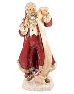 Santa Reading Naughty and Nice List Resin Figurine