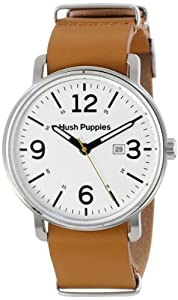 Hush Puppies Orbz Men's Automatic Watch with White Dial Analogue Display and Beige Leather Strap HP.3789M.2501