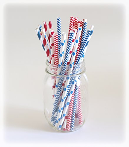 Independence Day Drink Straws, Red, Blue & White Straw Set, Shake Straws, Party Straws, 25 Pack - 4Th Of July Combo front-828718
