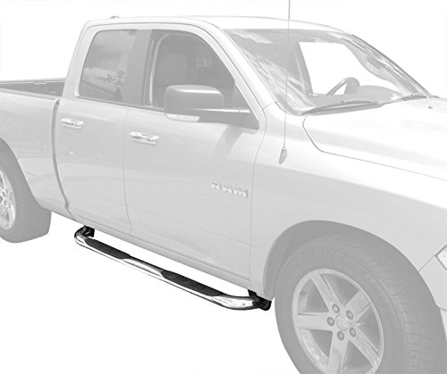 """MaxMate Custom Fit 2009-2015 Ram 1500 Quad Cab Stainless Steel 3"""" Side Step Rails Nerf Bars Running Boards(2pcs with Mounting Bracket Kit)"""