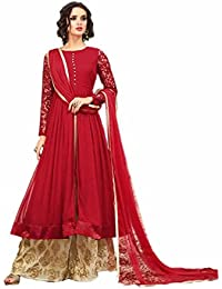 ARYAN FASHION Designer Beautiful Red Nd Beige Embroidered Long Anarkali SuitSemi-Stitched Suit ( Bottom Unstitched)