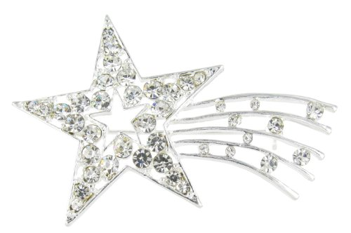 Sparkling Shooting Star Rhinestone Brooch Pin For Independence Day With Clear Crystals