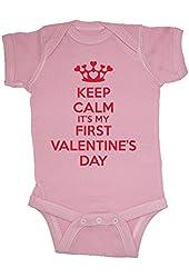 Festive Threads Keep Calm It's My First Valentine's Day Baby Bodysuit