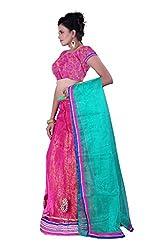 Sonika Pink & Green Net 3 Piece Lehenga Choli