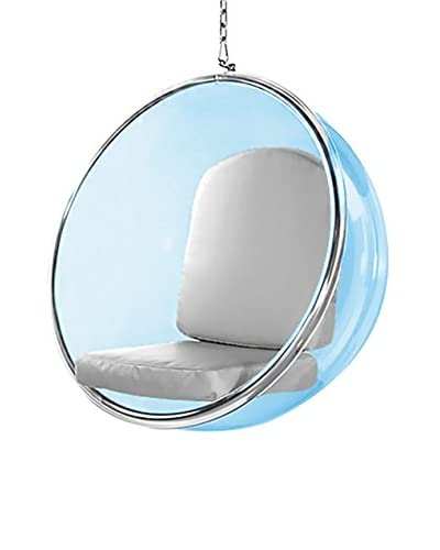 Manhattan Living Blue Bubble Hanging Chair, Silver