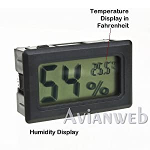 Digital Mini Instant-Read Temperature (Fahrenheit) & Humidity Gauge Thermometer (Hygrometer) - Most popular applications for Cars, Incubators and Brooders by Avianweb
