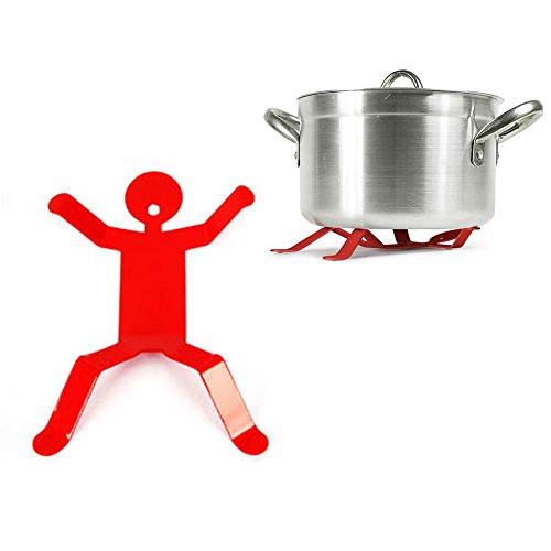 Fivebop Anti Heat Pressure Durable Small Iron Hotman Trivet Pot Holder (Red)