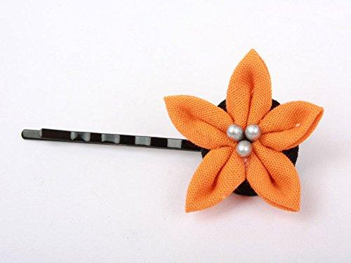 花 ヘアピン オレンジ 和装浴衣着物など 髪飾り フラワー