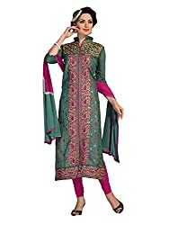 Fashionup Women's Georgette Ethnic Dress Material ( Green )