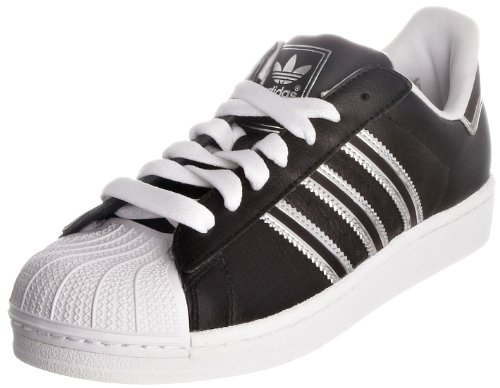 Adidas Women's Black/Silver Superstar 2J Leather Trainers 10 UK