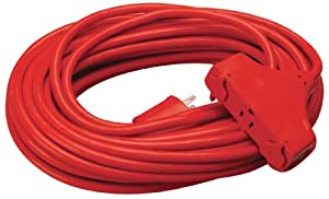 coleman cable 04218 14 3 sjtw vinyl outdoor extension cord red 3 outlet 50. Black Bedroom Furniture Sets. Home Design Ideas
