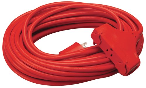 Coleman Cable 04218 14/3 SJTW Vinyl Outdoor Extension Cord, Red, 3-Outlet, 50-Foot (50 Foot Outdoor Extension Cord compare prices)