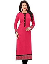 Expert Women's Clothing Designer Casual Wear Collection Low Price Sale Offer Pink Cotton A-Line Free Size Tunic...